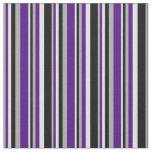 [ Thumbnail: Dark Grey, Indigo, Lavender & Black Lines Fabric ]