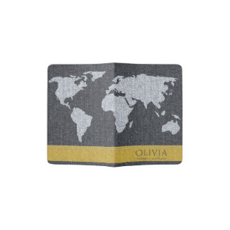 DARK GREY JEANS YELLOW WORLD MAP DENIM MONOGRAM PASSPORT HOLDER