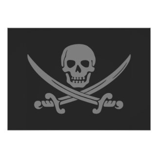 Dark Grey Jolly Roger Pirate Flag Poster