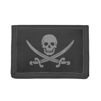 Dark Grey Jolly Roger Tri-fold Wallet