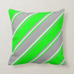 [ Thumbnail: Dark Grey, Lime, and Mint Cream Colored Pattern Throw Pillow ]