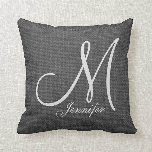 Grey Linen Throw Pillow : Dark Grey Linen White Monogram Throw Pillow Zazzle