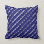 [ Thumbnail: Dark Grey & Midnight Blue Colored Lined Pattern Throw Pillow ]
