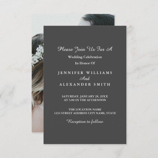 Dark Grey Minimalist Photo Wedding Invitation