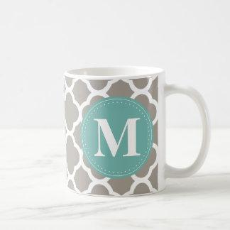 Dark Grey Monogram Pink Quatrefoil Pattern Coffee Mug
