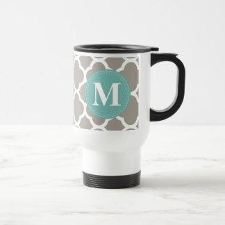Dark Grey Monogram Pink Quatrefoil Pattern Travel Mug