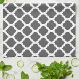 Dark Grey Moroccan Pattern Kitchen Towels