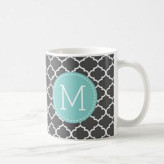Dark Grey Morocco Quatrefoil Pattern w/ monogram Coffee Mug