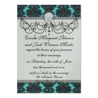 dark grey on aqua blue flourish damask pattern card