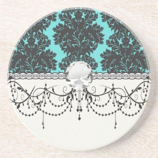 dark grey on aqua blue flourish damask pattern coaster