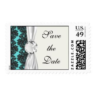 dark grey on aqua blue flourish damask pattern postage