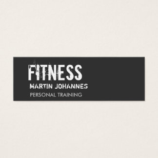 Dark Grey Personal Trainer Skinny Business Card