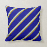 [ Thumbnail: Dark Grey, Powder Blue, Dark Goldenrod & Dark Blue Throw Pillow ]