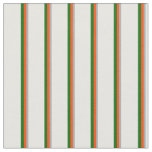 [ Thumbnail: Dark Grey, Red, Dark Green & White Colored Lines Fabric ]