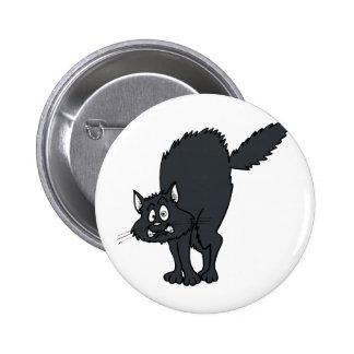Dark grey scaredy cat pinback buttons
