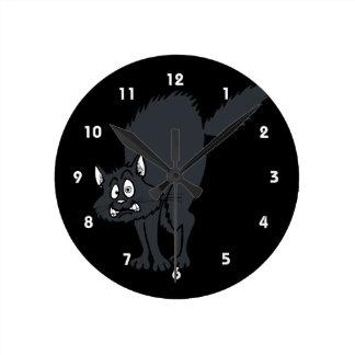 Dark grey scaredy cat. round wall clock