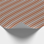 [ Thumbnail: Dark Grey & Sienna Lines Wrapping Paper ]