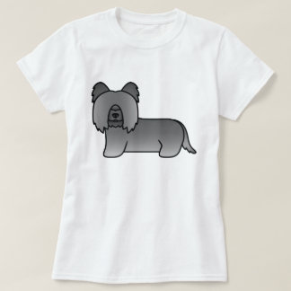 Dark Grey Skye Terrier Dog Illustration T-Shirt