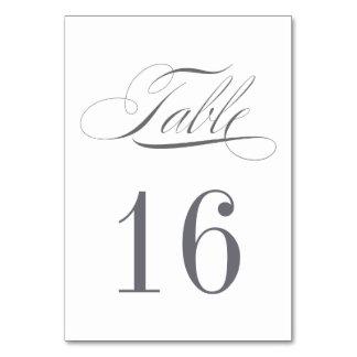 Dark Grey Table Number Card - ORDER 1 PER TABLE