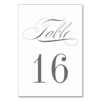 Dark Grey Table Number Card - ORDER 1 PER TABLE Table Card