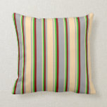 [ Thumbnail: Dark Grey, Tan, Lime Green, and Dark Red Colored Throw Pillow ]
