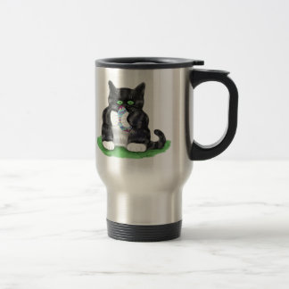 Dark Grey Tiger Kitten Holds Tightly to an Easter Travel Mug
