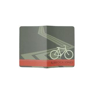 DARK GREY TOMATO RED LEATHER BIKE BICYCLE MONOGRAM PASSPORT HOLDER