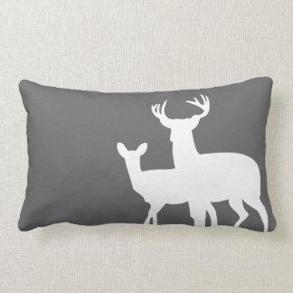 Dark Grey White Male Female Deer Pillow