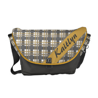 Dark grey with yellow plaid pattern with name messenger bag