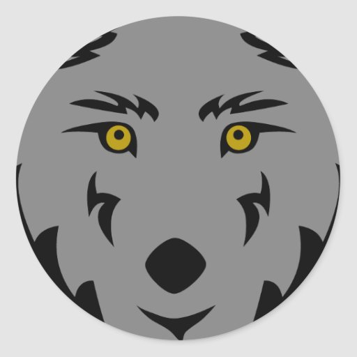Dark Grey Wolf Classic Round Sticker