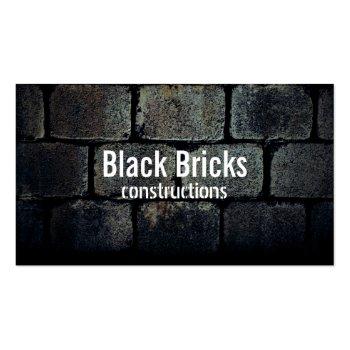 Dark Grunge Bricks Constructions Business Card
