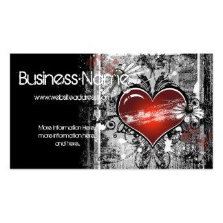 Dark Grunge Love Heart Design Business Card 3