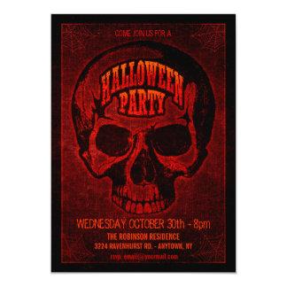 Dark Grunge Skull Halloween Party Invite