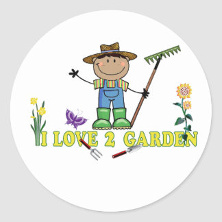 Dark Guy Farmer I Love 2 Garden Classic Round Sticker