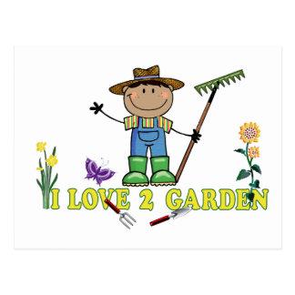 Dark Guy Farmer I Love 2 Garden Postcard