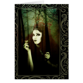 Dark Gypsy Witch Forest Butterfly Greeting Card