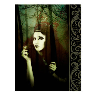 Dark Gypsy Witch Forest Butterfly Postcard