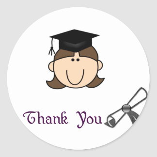 Dark Hair Girl Graduation Thank You Stickers