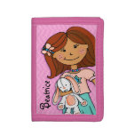 Dark hair girl lucky white bunny pink named purse tri-fold wallet