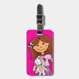 Dark hair girl with bunny kids named luggage tag
