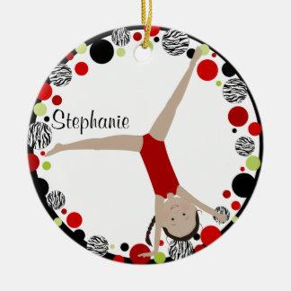 Dark Hair Gymnast Red, Black & Green Personalized Ceramic Ornament