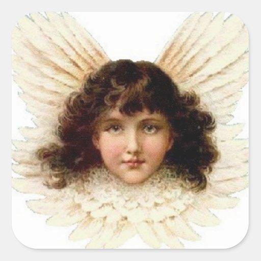 Dark Haired Angel Square Sticker