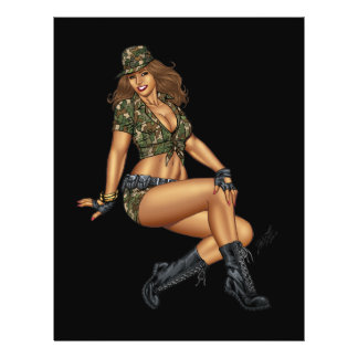 Dark Haired Army or Military Pinup Girl by Al Rio Personalized Flyer