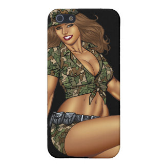 Dark Haired Army or Military Pinup Girl by Al Rio iPhone 5 Cover