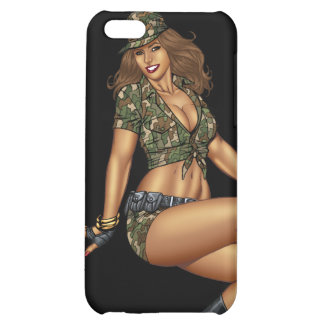 Dark Haired Army or Military Pinup Girl by Al Rio iPhone 5C Covers