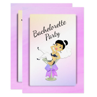 Dark Haired Bachelorette Party Invitation