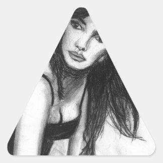 Dark Haired Beauty Triangle Sticker