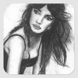 Dark Haired Beauty Square Sticker