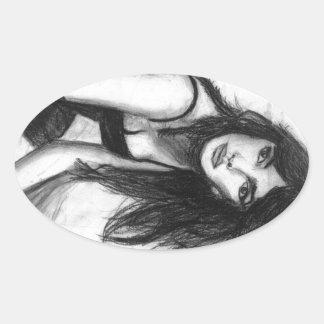 Dark Haired Beauty Oval Sticker