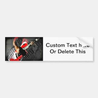 Dark hands guitar layered red image bumper sticker